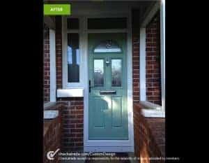 New green front door recently installed