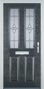 grey composite door 2 panel 2 square with finesse glass