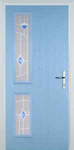 duck egg blue door with murano glass