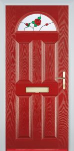 red composite door with english rose glazing