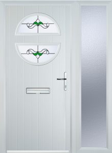 white circle composite door with single side panel