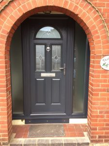 Composite front door grey with side panels