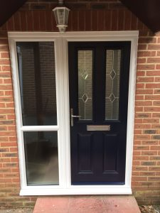 Blue 2 panel 2 square composite front door