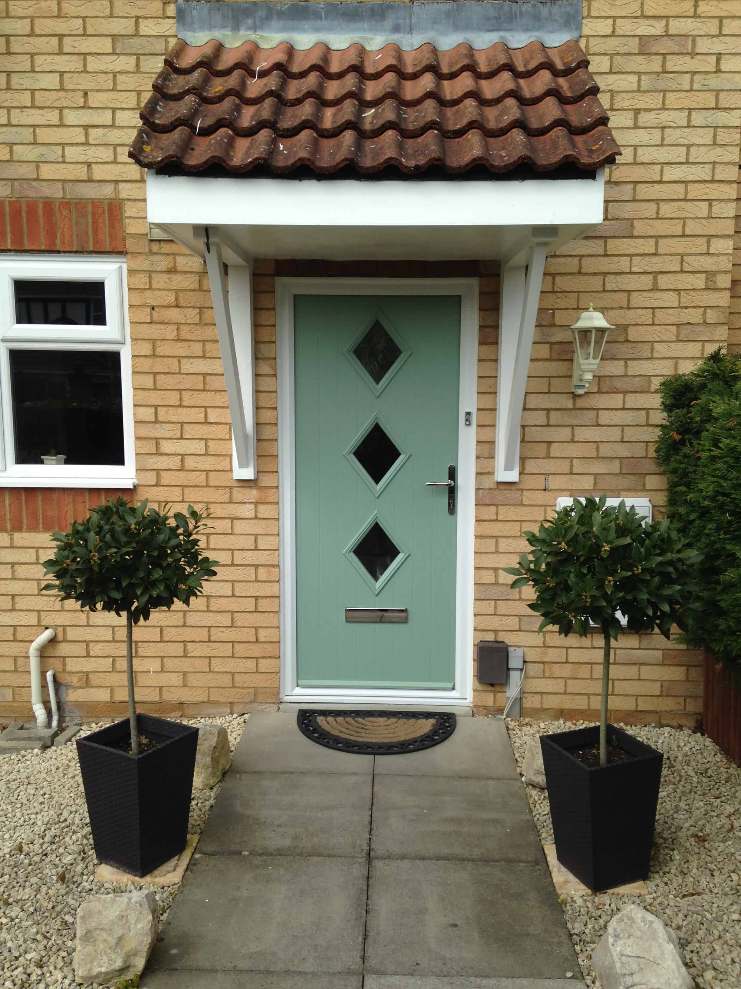 Green Composite Front Door With Diamond Design Fitted By Buildmydoor