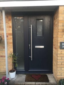 Grey Composite Front Door Mid Glazed with side panel installed by Buildmydoor