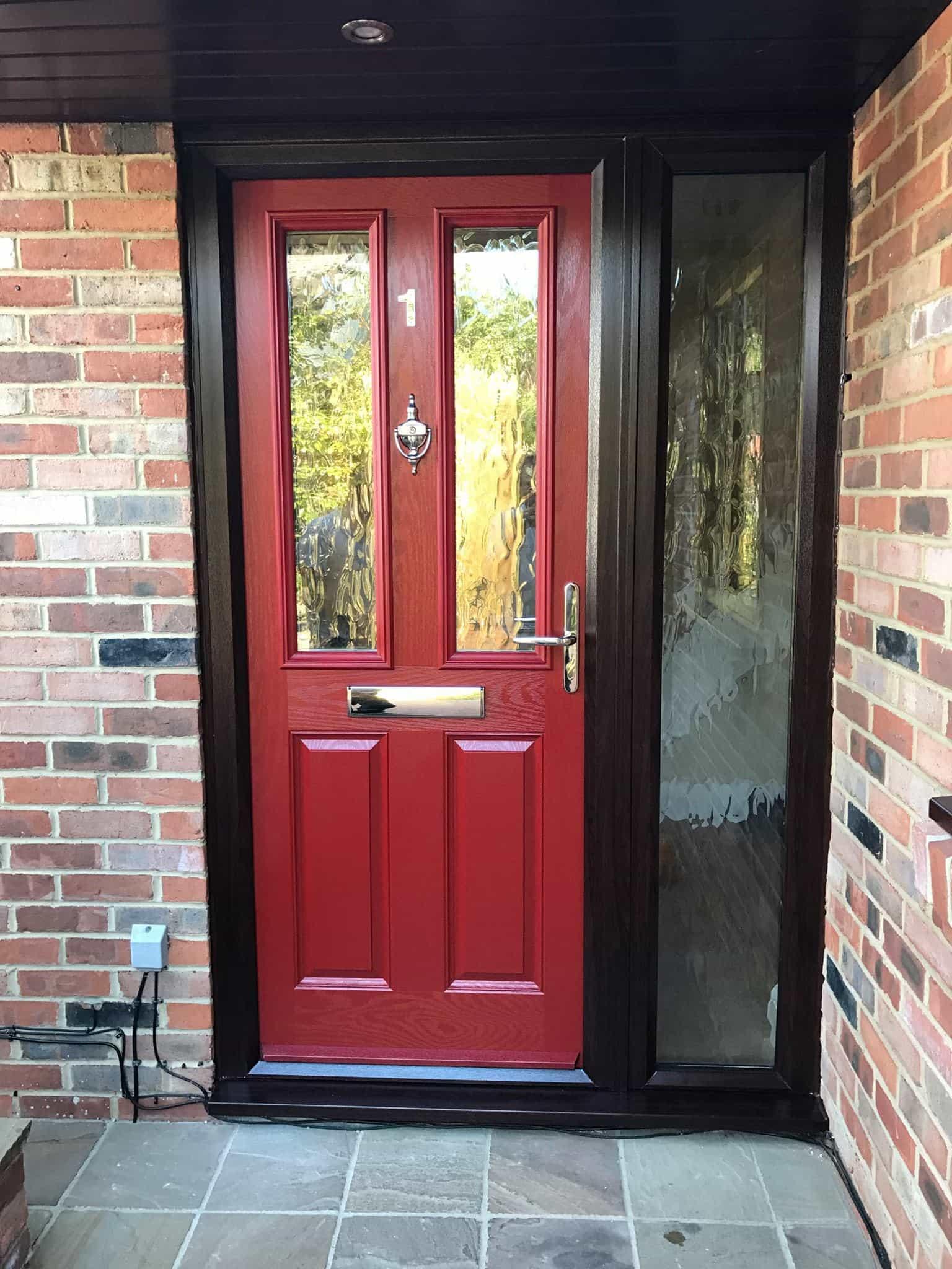 red 2 panel 2 square composite door