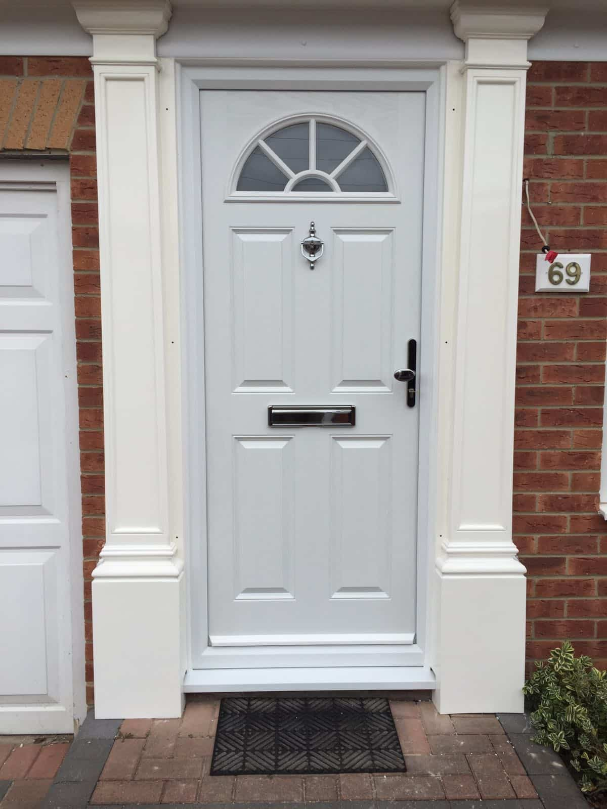 white 4 panel sunburst composite door