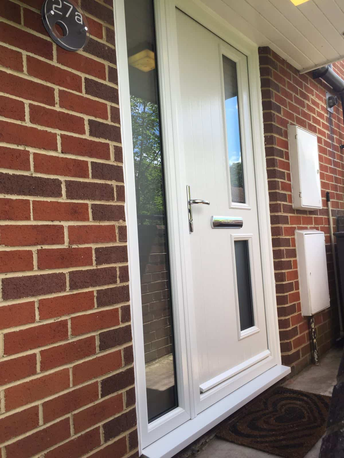 white twin side composite door