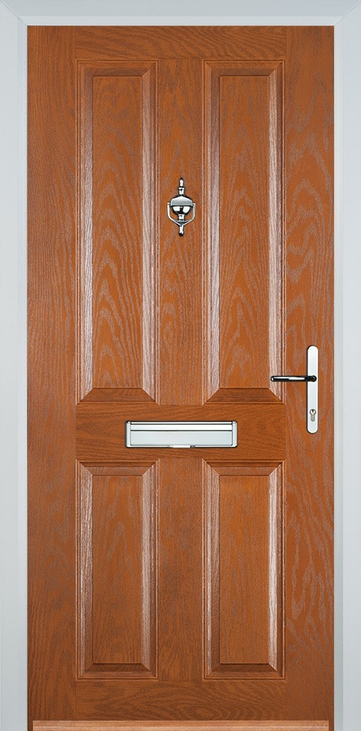 Oak 4 panel composite door with chrome hardware - £831.83