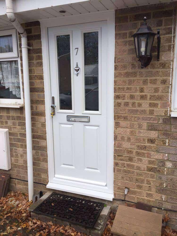 grey composite front door supplied and installed in Totton by Buildmydoor