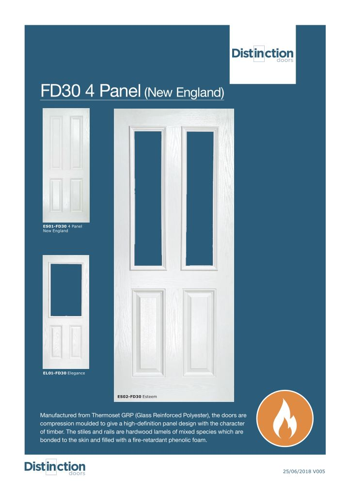 FD30 New England 4 Panel Datasheet